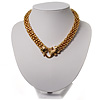 Gold Tone Mesh &#039;Buckle&#039; Choker Necklace