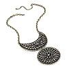 Vintage Bronze Filigree Medallion Diamante Necklace