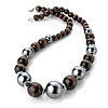 Long Chunky Brown & Metallic Grey Wood Bead Necklace - 60cm Length
