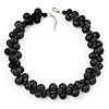 Black Polished Ceramic Bead Twisted Necklace (47cm L/ 3cm Ext)