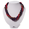 Multistrand Wood Bead Necklace (Purple, Pink & Brown) - 42cm Length