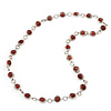Terracotta Pink Glass Bead Necklace In Silver Plated Metal - 72cm Length
