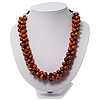 Orange Cluster Beaded Wood Cotton Cord Necklace - 46cm Length ( 4cm Extender)