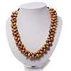 Beige Cluster Beaded Wood Cotton Cord Necklace - 46cm Length ( 4cm Extender)