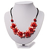 Coral Red Floral Shell Leather Style Cord Necklace - 44cm Length