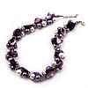 Exquisite Faux Pearl & Shell Composite Silver Tone Link Necklace (Purple & White) - 44cm L/ 3cm Ext