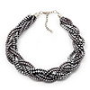 Luxurious Braided Light Grey Bead Choker Necklace In Silver Plating - 36cm Length/7cm Extension