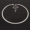 Thin Clear Swarovski Crystal Choker Necklace (Silver Plated)