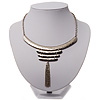 Silver Tone Hammered Bib Style Tassel Necklace - 38cm Length