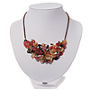 Stunning Black & Red Floral Acrylic Necklace In Bronze Tone Metal - 34cm Length