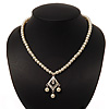Classic Ivory Faux Pearl Bead Diamante Necklace - 40cm Length