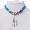 Victorian Light Blue Suede Style Diamante Choker Necklace In Silver Tone Metal - 34cm Length with 5cm extension