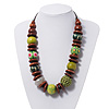 Chunky Olive Green/Brown Wood Beaded Cotton Cord Necklace - 58cm Length