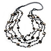 Long Multistrand Black Shell & Simulated Pearl Necklace - 96cm Length