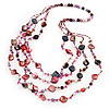 Long Multistrand Pink Shell & Simulated Pearl Necklace - 96cm Length