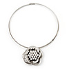 Silver Tone Crystal Rose Medallion Choker Necklace -