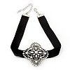 Black Velour Ribbon Diamante Filigree Cross Choker In Silver Tone Metal - 29cm Length (7cm extension)