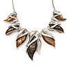 Modern Brown/Green Resin 'Leaf' Necklace In Silver Tone Metal - 42cm Length (7cm extender)