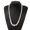 White Graduated Glass Pearl Classic Necklace - 58cm Length (4cm extender)