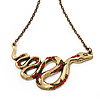 Red Crystal &#039;Snake&#039; Necklace In Bronze Finish - 46cm Length