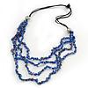 4 Strand Blue Glass Bead Black Cotton Cord Necklace - 60cm Length