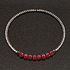 Clear/ Ruby Red Coloured Crystal Flex Choker Necklace In Gun Metal Finish - Adjustable