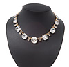 'Gorgeous Rocks' Crystal Choker Necklace In Gold Plating - 34cm Length/ 6cm Extension