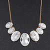 &#039;Gorgeous Rocks&#039; Oval Crystal Choker Necklace In Gold Plating - 34cm Length/ 6cm Extension