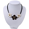 Black/White Enamel Daisy Flower Cotton Cord Magnetic Necklace - 36cm Length