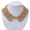 &#039;French Collar&#039; Beaded Choker Necklace In Matt Gold Finish - 38cm Length/ 7cm Extension