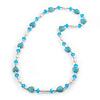 Turquoise Heart Shape Stone, Freshwater Pearl & Acrylic Bead Long Necklace - 76cm Length