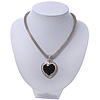 Silver Plated Black Resin 'Heart' Pendant Mesh Magnetic Choker Necklace - 38cm Length
