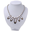Rhodium Plated Geometric Mesh Magnetic Choker Necklace - 36cm Length