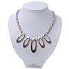 Rhodium Plated Geometric Mesh Magnetic Choker Necklace - 36cm Length