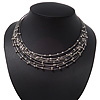 Rhodium Plated Multistrand Wire Beaded Magnetic Choker Necklace - 34cm Length