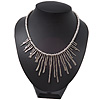 Silver Plated Hammered Asymmetrical Bib Magnetic Choker Necklace - 38cm Length
