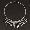 Silver Plated Bib Magnetic Choker Necklace - 38cm Length