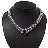 Rhodium Plated Mesh Magnetic Choker Necklace With Black Stone - 38cm Length