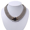 Wide Chunky Mesh Magnetic Choker Necklace With Black Stone In Silver Plating - 40cm Length