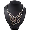 Rhodium Plated Asymmetrical Bib Mesh Magnetic Necklace - 40cm Length