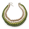 4 Strand Green/Lime/White/Beige Graduated Acrylic Bead Necklace - 40cm Length/ 7cm Extension