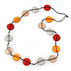 Long Brown/Orange/Beige Resin Button Cord Necklace - 96cm Length