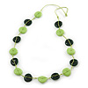 Long Resin Lime/Dark Green 'Button' Necklace On Cotton Cord - 84cm Length