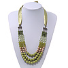 Long Multi Layered Lime/Gold/Green/Transparent Acrylic Bead Necklace With Light Green Silk Ribbon - Adjustable