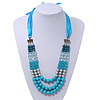 Long Multi Layered Turquoise/Metallic/Teal Acrylic Bead Necklace With Azure Silk Ribbon - Adjustable