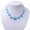 Children's Blue Butterfly Necklace - 36cm Length/ 4cm Extension
