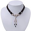 Victorian Black Suede Style Diamante Choker Necklace In Silver Tone Metal - 34cm Length with 7cm extension
