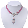 Victorian Purple Suede Style Diamante Choker Necklace In Silver Tone Metal - 34cm Length with 7cm extension