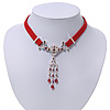 Victorian Red Suede Style Diamante Choker Necklace In Silver Tone Metal - 34cm Length with 7cm extension
