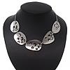 Brushed Silver Swarovski Crystal Oval Choker Necklace - 34cm Length/ 7cm Extension